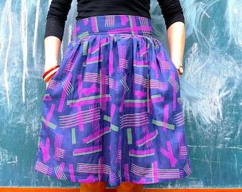 Gathered Waist Skirt. Japanese Cotton Double Gauze Gathered Skirt. Dirndl Skirt. Midi Skirt. Circle Skirt. Pocket Skirt. Rockabilly Vintage.