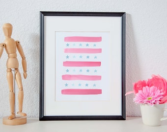 Stars and Stripes Forever - Watercolor Abstract Printable Poster