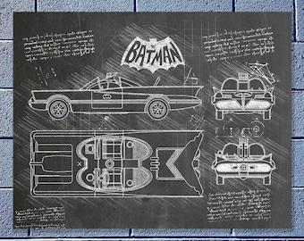 Batmobile blueprint etsy batmobile 1966 da vinci sketch blueprint patent prints posters batman decor art car 117 malvernweather Gallery