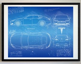 Tesla Model S (2012 16) Da Vinci Art Print, Blueprint Specs, Blueprint  Patent Prints Posters, Tesla Decor, Art, Car Art, Cars (#451)