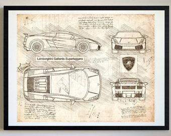 Lamborghini patent etsy lamborghini gallardo superleggera 2010 2014 lambo artwork blueprint specs blueprint patent prints posters art car art cars 489 malvernweather Images