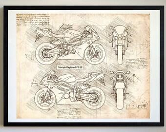 Motorcycle blueprint etsy triumph daytona 675 se da vinci sketch triumph artwork blueprint patent prints posters art motorcycle art cars 365 malvernweather Gallery