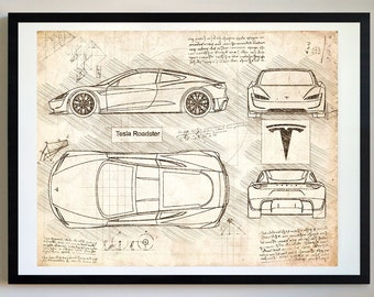 Tesla Roadster (2020) Da Vinci Art Print, Blueprint Specs, Blueprint Patent  Prints Posters, Tesla Decor, Art, Car Art, Cars (#449)