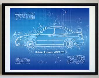 Subaru etsy subaru impreza wrx sti 2004 art print da vinci sketch blueprint patent prints posters wrx single art car art cars 515 malvernweather Choice Image