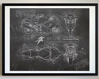 Motorcycle blueprint etsy suzuki hayabusa gsx 1300r 2008 da vinci sketch suzuki artwork blueprint specs patent prints posters art motorcycle art cars 493 malvernweather Gallery
