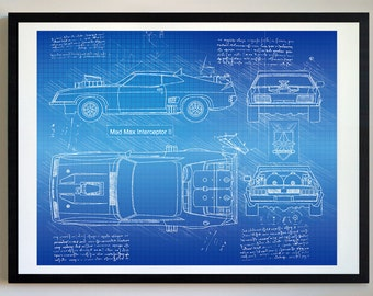 Car blueprint etsy mad max interceptor ii 1981 da vinci sketch mad max artwork blueprint patent prints posters decor art car art cars 278 malvernweather Image collections