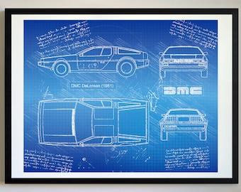 Kunstplakate 1981 DeLorean Automobile Patent Print Art Drawing Poster 18X24