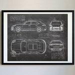 Porsche Macan (2018-Present) da Vinci Sketch Art Print, Blueprint Patent Prints Posters, Porsche Decor, Art, Car Art, Cars (#625)