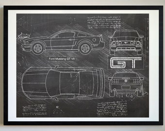 Mustang blueprint etsy ford mustang gt v8 2005 10 da vinci sketch mustang artwork blueprint patent prints posters mustang decor art car art cars 411 malvernweather Gallery