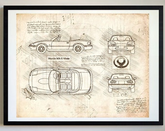 Mazda MX 5 Miata (89 98u0027) Da Vinci Sketch, Mazda Artwork, Blueprint Specs,  Patent Prints Posters, Miata Decor, Art, Car Art, Cars (#334)