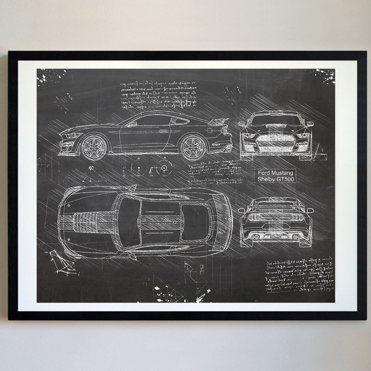 Ford Mustang Shelby GT500 (2019) da Vinci Sketch Art Print, Patent Prints  Posters, Mustang Decor, Art, Car Art, Cars (#717)