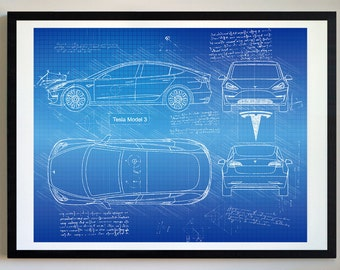 Car blueprint etsy tesla model 3 2018 da vinci sketch tesla artwork blueprint specs malvernweather Gallery