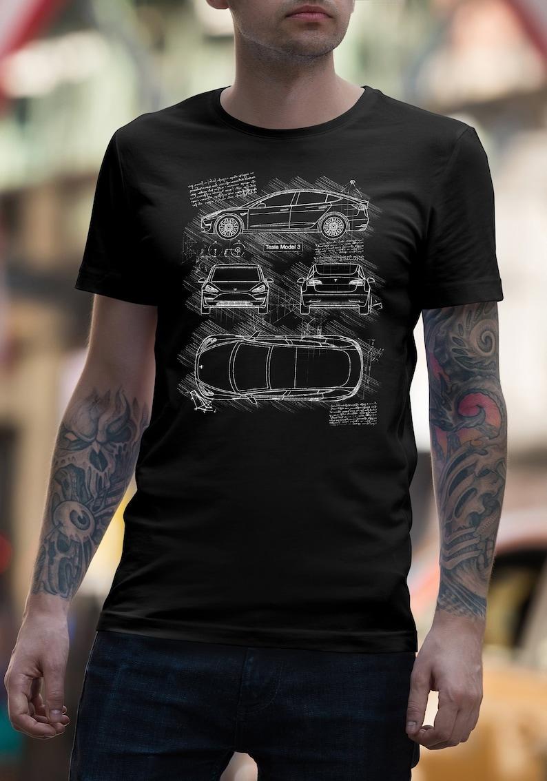 Gift for men Automotive T-shirt Tesla Model S blueprint