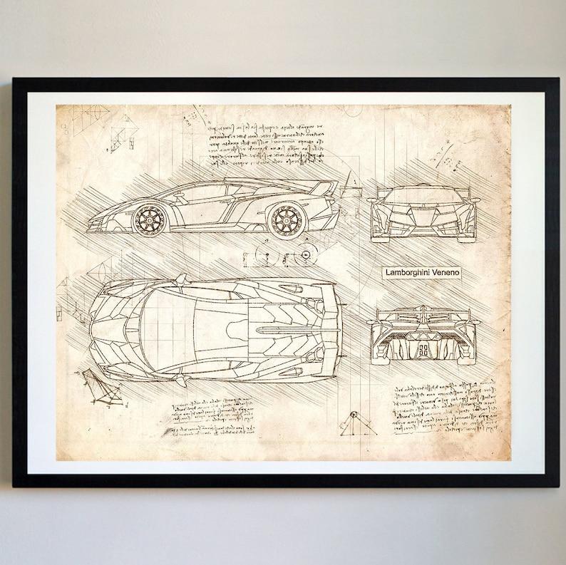 Lamborghini Veneno 2013 Da Vinci Skizze Kunstdruck Etsy