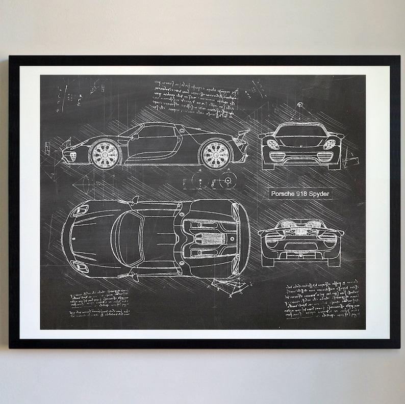 Porsche 918 Spyder 2015 Art Print Da Vinci Sketch Blueprint Patent Prints Posters Porsche Decor Art Car Art Cars 288