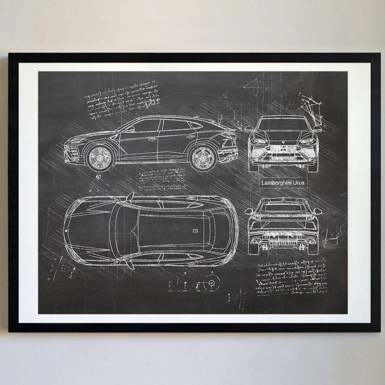 Lamborghini Urus 2018 Present Da Vinci Sketch Art Print Etsy