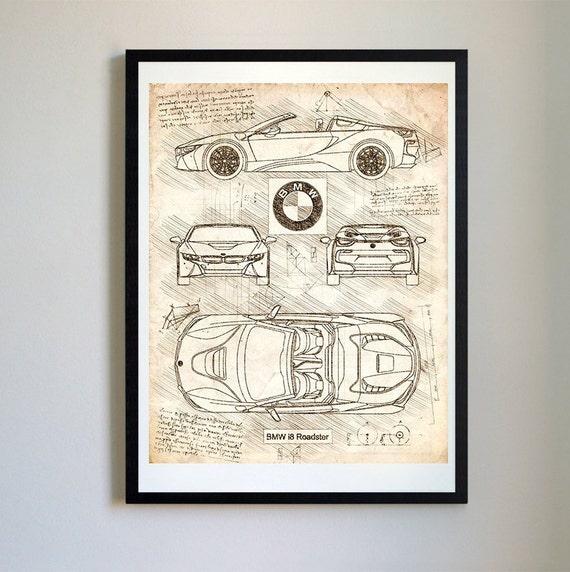 Bmw I8 Roadster 2018 Da Vinci Sketch Bmw Artwork Blueprint Etsy