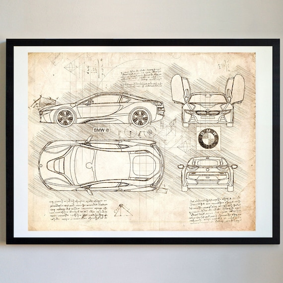 BMW I8 2013 Da Vinci Sketch BMW Artwork Blueprint Specs