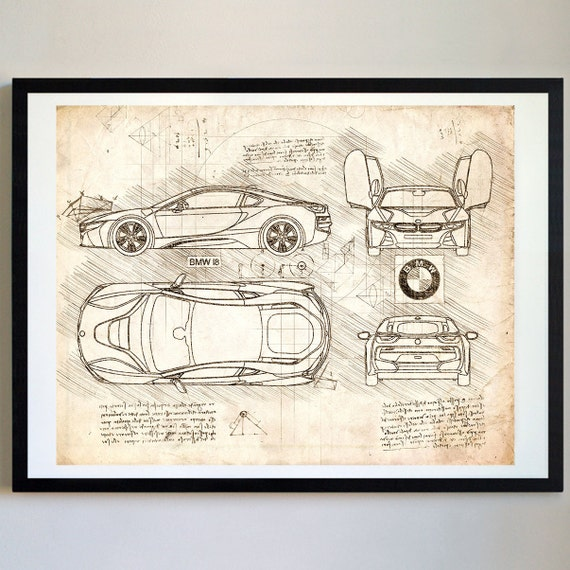 Bmw I8 2013 Da Vinci Sketch Bmw Artwork Blueprint Specs Etsy