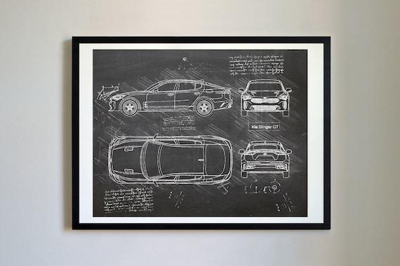 Kia Stinger GT (2017-Present) da Vinci Sketch Art Print, Blueprint Patent  Prints Posters, Art, Car Art, Cars (#407)