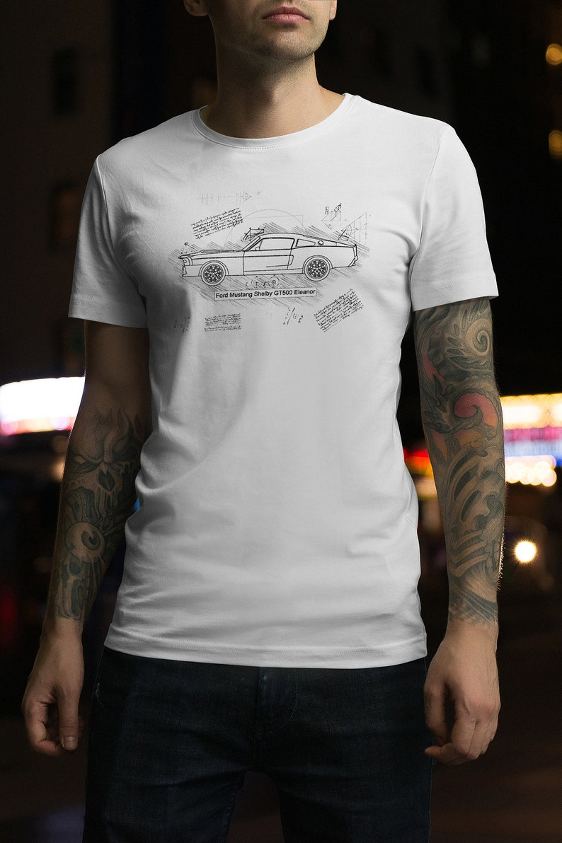 9c6bc96214 Ford Mustang Shelby GT500 Eleanor T-Shirt da Vinci Sketch | Etsy