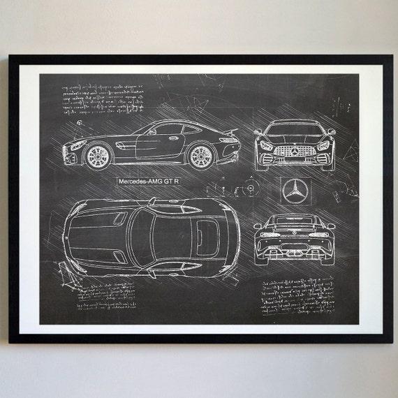 Mercedes Amg Gt R 2016 Mercedes Artwork Blueprint Specs Etsy