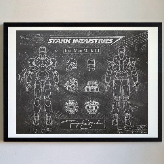 Iron Man Mark III 3 Arc Reactor Da Vinci Art Print Patent