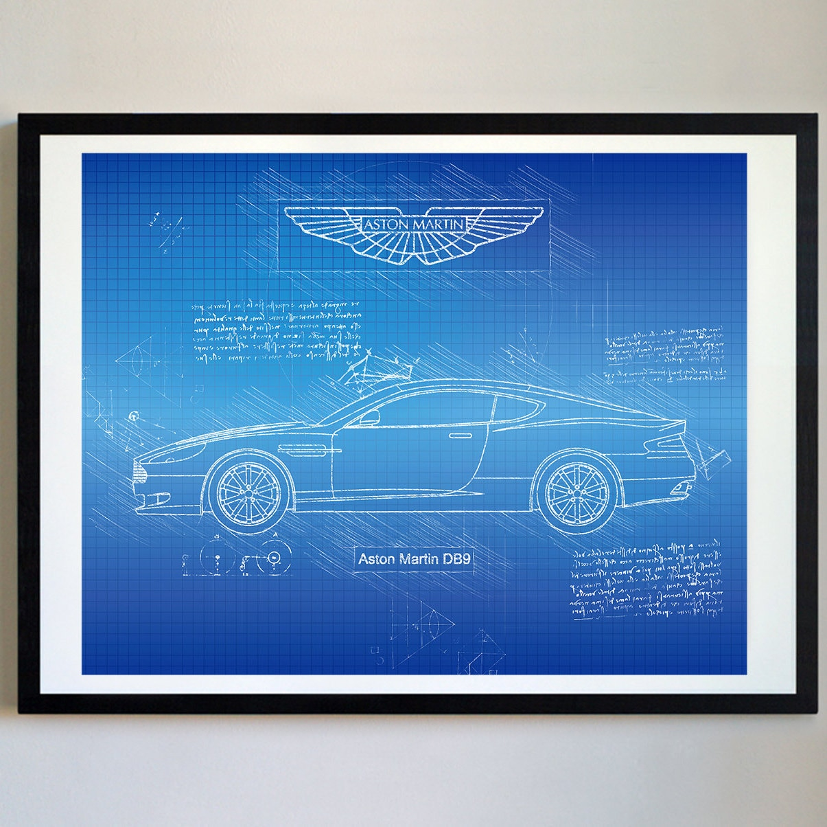 Aston Martin DB9 2008 Da Vinci Art Print Sketch James Bond