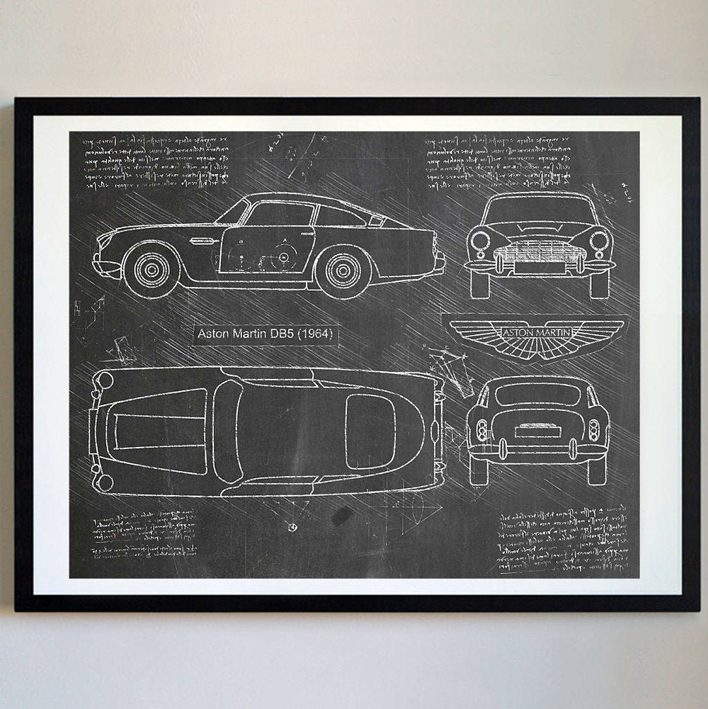 Aston Martin DB5 1964 Da Vinci Sketch James Bond Blueprint