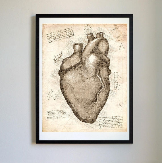 Vintage Anatomical Heart Sketch Da Vinci Print Anatomy Heart Etsy