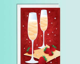 Christmas Card, New Year Eve Card, Champagne & strawberry, Greeting Card
