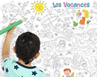 Coloriage géant Les vacances au Québec, coloriage pour enfants, affiche, carte à colorier