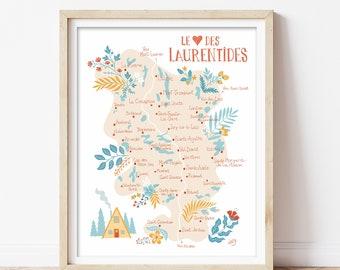 Carte illustrée Le coeur des Laurentides du Québec