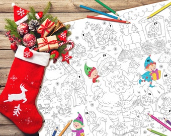 Calendrier de l'Avent à colorier, coloriage de Noël, cadeau pour enfant