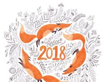 2018 Fox & Flowers Calendar, Poster calendar, Wall Calendar, folk art prints, illustration print