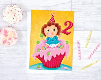 Birthday Card For Baby Girl Blank Anniversary Happy Gift 2 Years Old