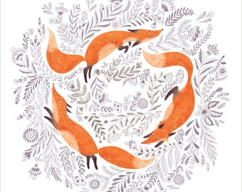 Fox and flowers poster, Black and white drawing, folk art print, wall decor
