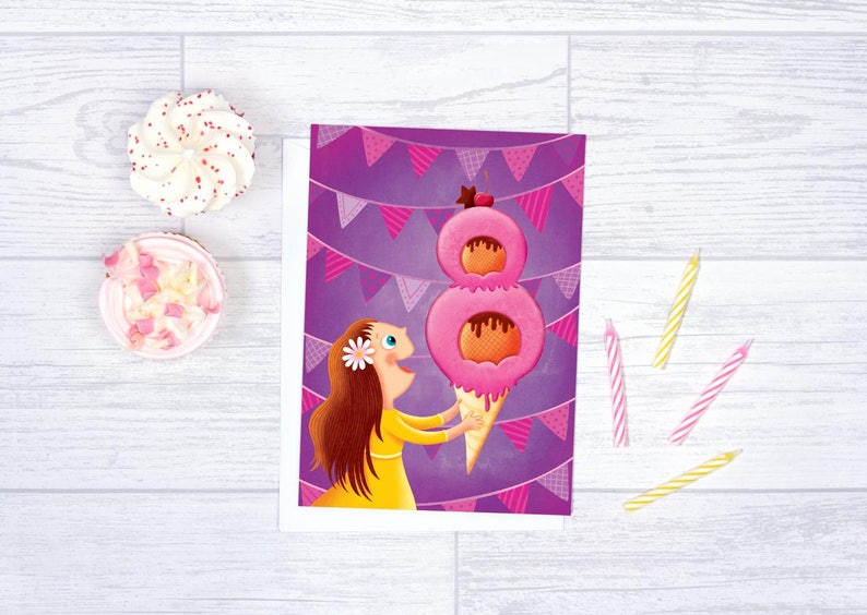 Birthday Card For Girl 8 Years Old Happy Greeting Kids Children
