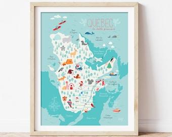 Affiche illustrée «Québec, la belle province»