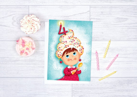Birthday Card For Girl 4 Years Old Blank Card Anniversary Etsy