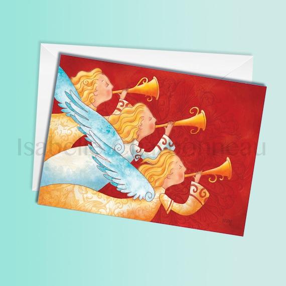 Angels Christmas Cards.Christmas Angels Christmas Card Greeting Card Holiday Card