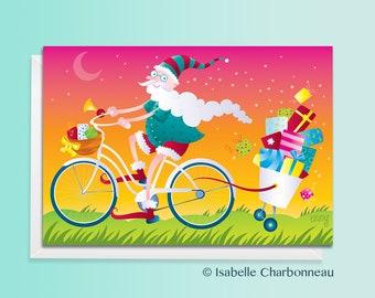 Santa Claus, bike, Christmas card