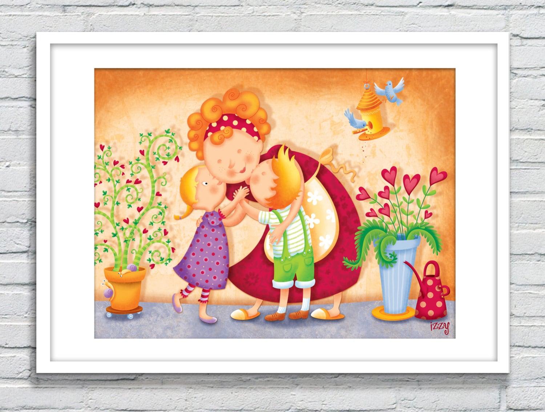 Family love print Mom and kids big hug and kiss Maternity   Etsy