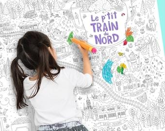 Coloriage géant Le P'tit train du Nord, Laurentides, animaux du Québec, coloriage pour enfants, affiche, carte à colorier