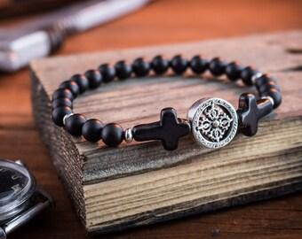 6mm - Mens beaded bracelet, Matte black onyx stretchy bracelet with black cross, mens bracelet, cross bracelet, mens gemstone bracelet
