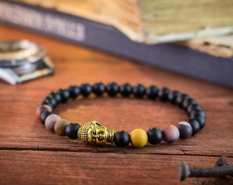 6mm Double wrap matte black onyx /& blue agate beaded mens stretchy bracelet with micro pave beads and an antiqued stainless steel cuff