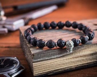 8mm - Black lava stone beaded stretchy bracelet with silver skull , custom made lava bracelet, gemstone bracelet, mens bracelet
