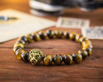8mm - Tiger eye beaded stretchy bracelet with gold Lion ,  tiger eye bracelet, custom made bracelet, womens bracelet, mens bracelet