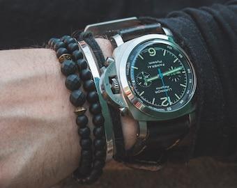 b87eb34a 6mm - Double wrap matte black onyx beaded bracelet, beaded stretchy  bracelet, black bracelet, mens bracelet, made to order yoga bracelet