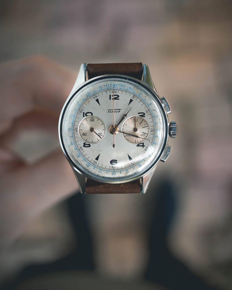 5812de0ea Vintage Tissot Chronograph mens watch stainless steel swiss | Etsy